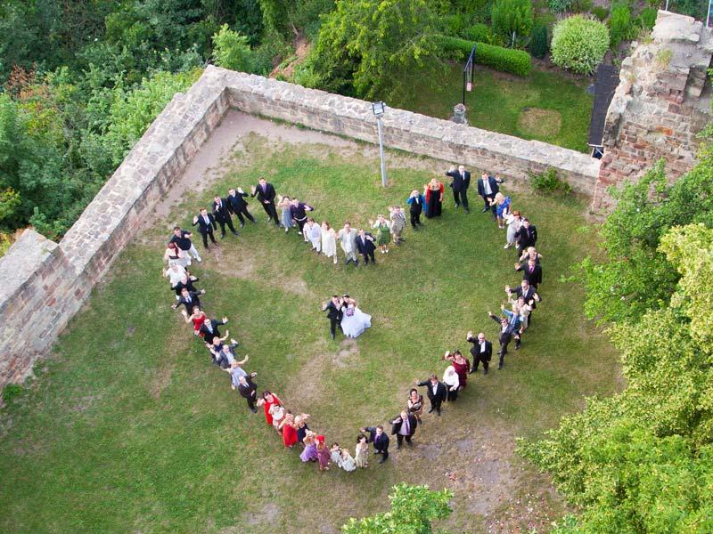 Luftbildaufnahme einer Hochzeit